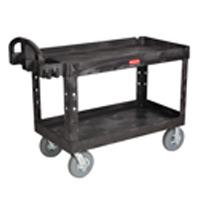 "RUBBERMAID® HEAVY DUTY UTILITY CART 750 LB CAPACITY Black 2 shelf large cart 55x26x33.25"""