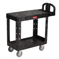 "RUBBERMAID® FLAT TOP SHELF UTILITY CARTS 500 LB CAPACITY Small Heavy duty black cart 37.88x19.2x33.3"""