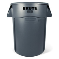 """BRUTE® VENTED 44 GALLON ROUND CONTAINERS Gray container 24x31.5"""""""