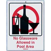 POOL SIGN  no glassware allowed