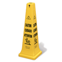 "RUBBERMAID® 4-SIDED SQUARE YELLOW SAFETY CONES ""Caution"" 36"" cone multi-lingual 12.25x12.25x36"""