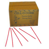 "STIRRER STRAWS PLASTIC INDIVIDUALLY WRAPPED 5.75"" Red Color Packed 10/1000"