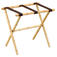 "BAMBOO LUGGAGE RACK NATURAL WITH BROWN STRAPS Without Wall Guard 23"" x 14"" x 21"""