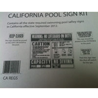 CALIFORNIA POOL SIGN KIT Contains all pool signs required by CA as of Sept 2012