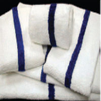 "POOL TOWELS - WHITE WITH THIN CENTER BLUE STRIPE 22x44"" (12)"
