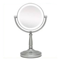 LED LIGHTED VANITY MIRROR SATIN NICKEL 5x magnification