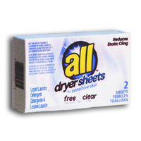 ALL FREE CLEAR FABRIC SOFTENER VENDING BOXES (100) 2 Sheets per box