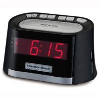 HAMILTON BEACH AM/FM ALARM CLOCK RADIO W/USB CHARGING PORT Black