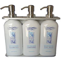 Ocean Spa Three Chamber Wall Mount Bulk Dispenser Kit Os500555 Shampoo Conditioner Body Wash 1 Ea Pn 15349 Holds 16 91oz 500ml Per Blue