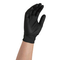 DISPOSABLE HEAVY DUTY BLACK NITRILE POWDER FREE GLOVES Large (100)