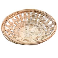 "MEDIUM ROUND BAMBOO BASKET 7"" diameter X 2"""