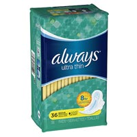 ALWAYS ULTRATHIN UNSCENTED REGULAR PADS WITH WINGS 6 boxes with 36 pads per box