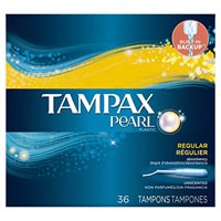 TAMPAX® PEARL® TAMPONS REGULAR Unscented, packed 12/36