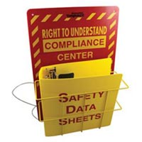 RIGHT TO KNOW/RIGHT TO UNDERSTAND CENTER Reversible sign with wire basket and attached 3-ring binder.