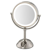CONAIR® TWO-SIDED LIGHTED VANITY MIRROR, NICKEL FINISH With Clear Cord