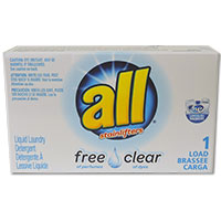 "ALL FREE CLEAR ""HE"" LIQUID DETERGENT 1 LOAD POUCH (100) HE Liquid in pouch"
