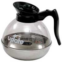 UPDATE COFFEE DECANTER 64oz TEMPERED PLASTIC & STAINLESS STE Black top & handle Packed: 1 each
