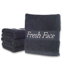 "BLACK ""FRESH FACE"" FADE- RESISTANT WASHCLOTHS 13""X13"" 1.5 LBS (Packed 12)"