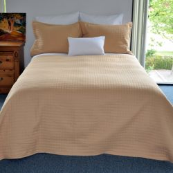 "*T190 QUEEN  QUILTED COVERLET 150GSM #BP85GO-K 92""x95"" GOLD (ea)..."