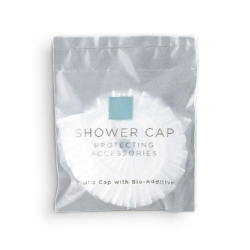 RSA UNIVERSAL ACCESSORIES SLATE BLUE & WHITE Shower Cap, pouch