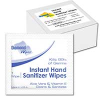 INDIVIDUALLY WRAPPED INSTANT HAND SANITIZER WIPES Packd 40 wipes in 12 small boxes.