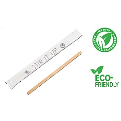 "WOODEN STIR  STICK, 5"", INDIVIDUALLY WRAPPED, COMPOSTABLE (10,000) PN:17857..."
