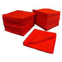 "MICROFIBER CLEANING TOWELS RED - ALL PURPOSE 16""X16"" Sold Individually"