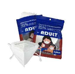 KN95 PARTICULATE FILTRATION FACE MASKS WITH EAR LOOPS Packed 5 masks in re-sealable plastic pouch.