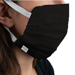 MARTEX® HEALTH™ REUSABLE WASHABLE FACE MASK Black Color, Silver Infused with Elastic Ear Loops