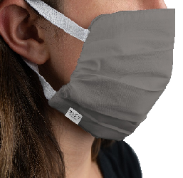 MARTEX® HEALTH™ REUSABLE WASHABLE FACE MASK Gray Color, Silver Infused with Elastic Ear Loops