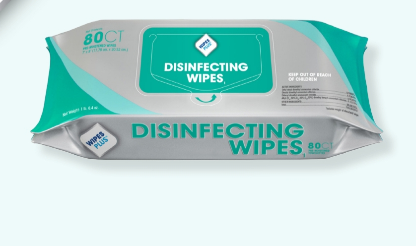 WIPES PLUS DISINFECTING SURFACE WIPES 80 Wipes per Self-Closing Packet