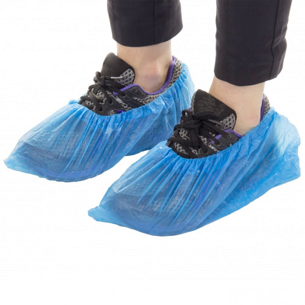 DISPOSABLE SHOE COVERS WATERPROOF, NON-SLIP, BLUE Packed 100 each