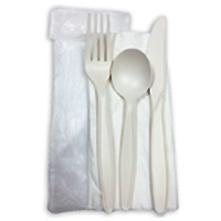 COMPOSTABLE UTENSIL SET, INDIVIDUALLY WRAPPED Fork, knife, spoon, napkin 200 sets per case