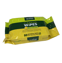ACTIVA®HARD SURFACE CLEANING WIPES IN RESEALABLE BAG (80) Packed 80 wipes per packet.