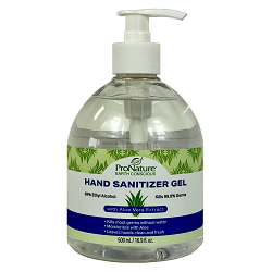 PRONATURE® HAND SANITIZER GEL 500 mL (16.9oz) Individual 500 mL pump top bottle