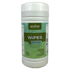 ACTIVA® 75% ALCOHOL HAND SANITIZER WIPES CANISTER Packed 100 wipes in reclosable canister.