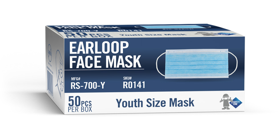 YOUTH SIZE DISPOSABLE 3/PLY BLUE PLEATED MASKS Suitable for children. Packed 50/box.