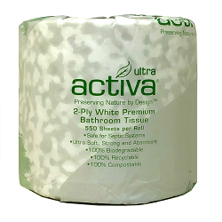 ACTIVA® ULTRA PREMIUM TOILET TISSUE 2/ply *ON SALE* 80 rolls/550 sheets per roll **$5 off per case!**
