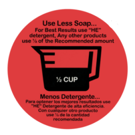 """""""USE LESS SOAP"""" WASHER DECAL BLACK PRINTING ON RED 1/2 CUP"""