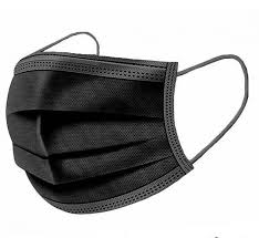 3-LAYER BLACK PLEATED FACE MASKS WITH EAR LOOPS  Packed 50 per box